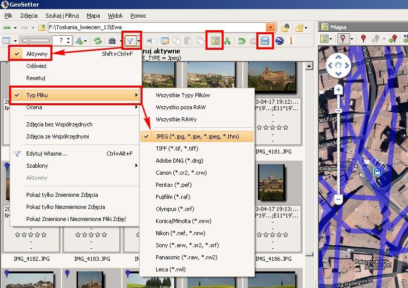 GeoSetter - dodawanie danych GPS do zdjęć