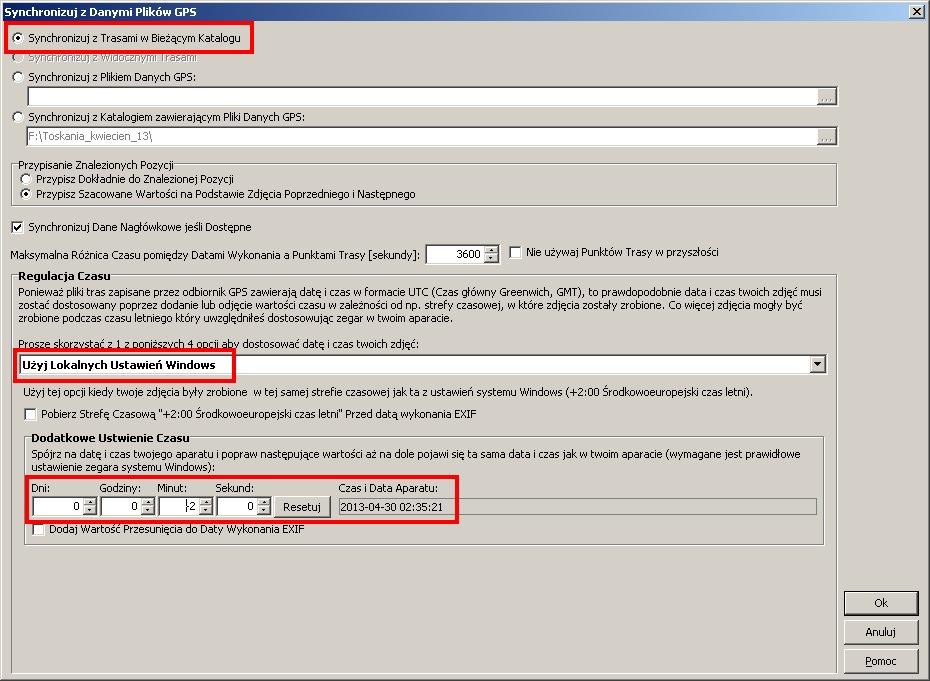 GeoSetter - okno synchronizacji