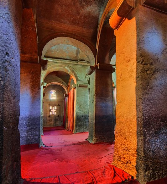klasztor, Lalibela, Etiopia, światło mieszane