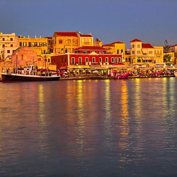 Chania, Port o zachodzie słońca
