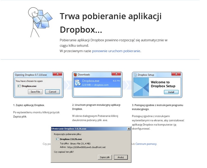 dropbox - instalacja aplikacji