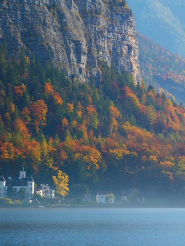 Widok z Hallstatt, Austria, jesień, jezioro, góry