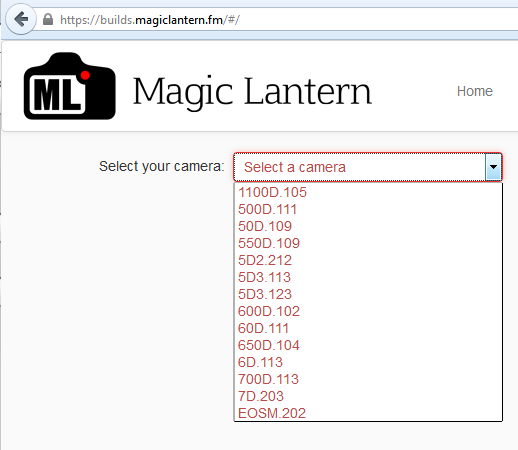 Magic Lantern - obsługiwane aparaty
