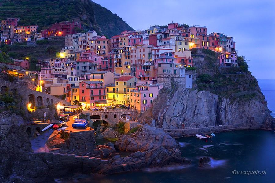 Manarola, zmierzch, Cinque Terre