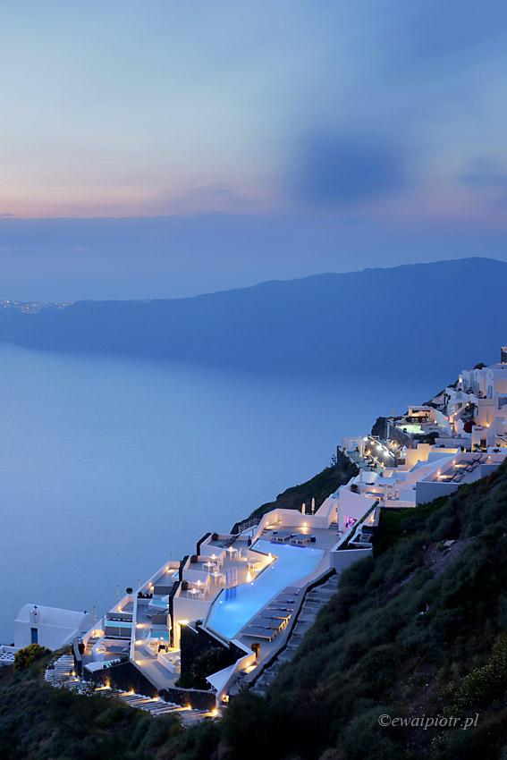 Imerovigli o zmierzchu, Santorini