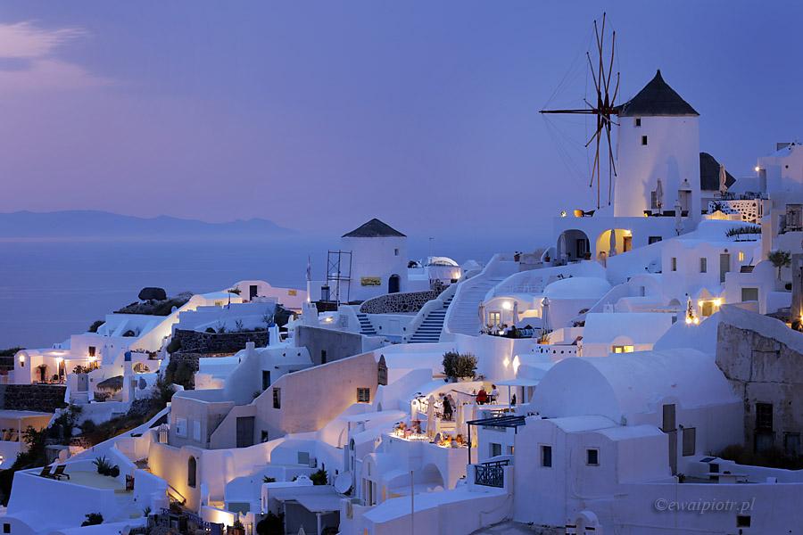 o zmierzchu, Oia, Santorini