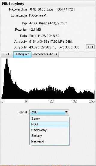 histogram w przeglądarce dla fotografa FastStone Image Viewer