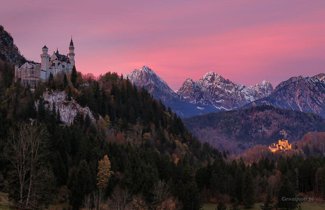 Wschód słońca pod Neuschwannstein, fotowyprawa Bawaria