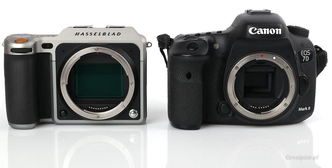 Hasselblad X1D i Canon 7D Mark II - porównanie rozmiaru matryc