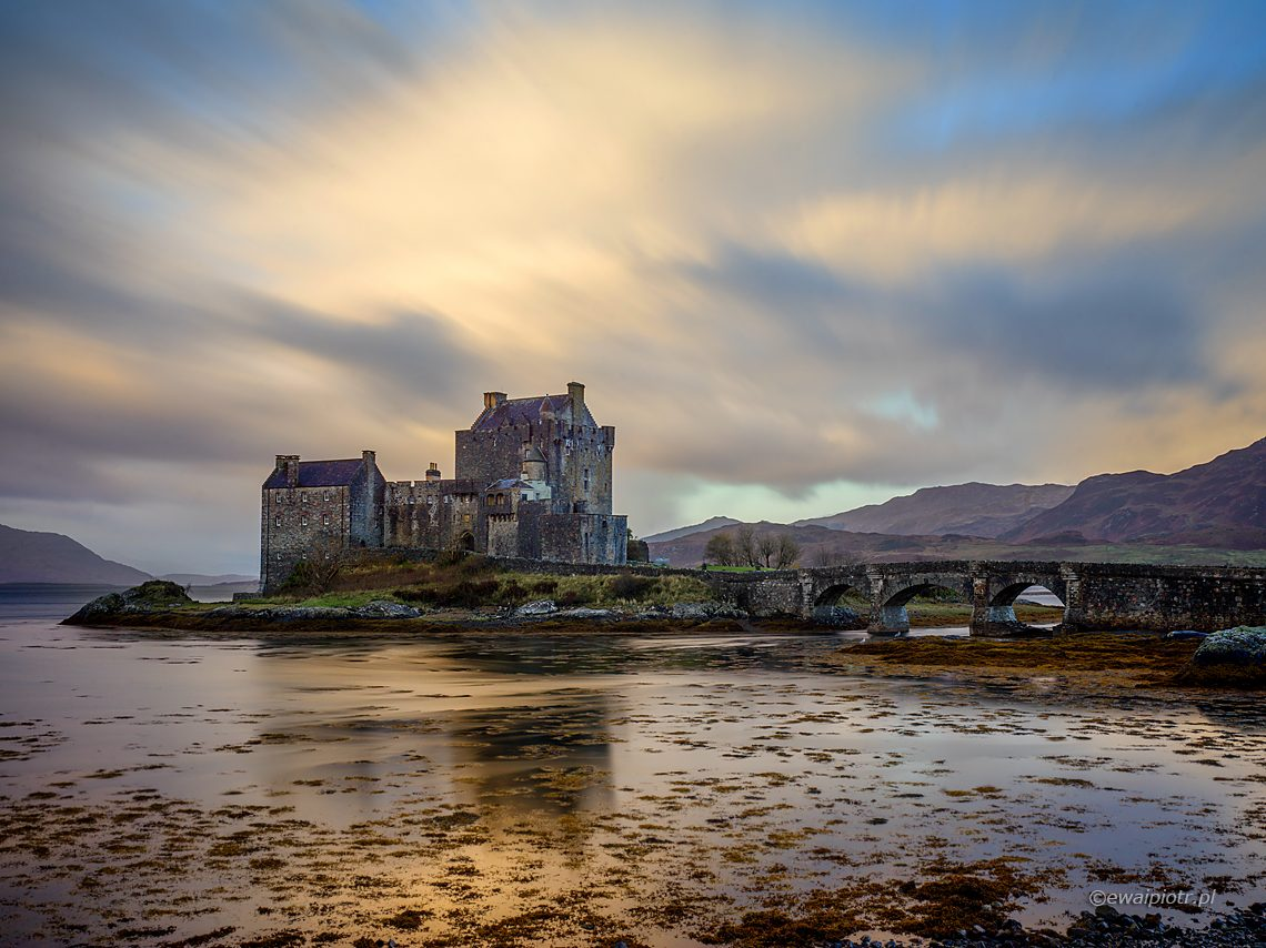 długa ekspozycja, Eilean Donan o poranku, Szkocja
