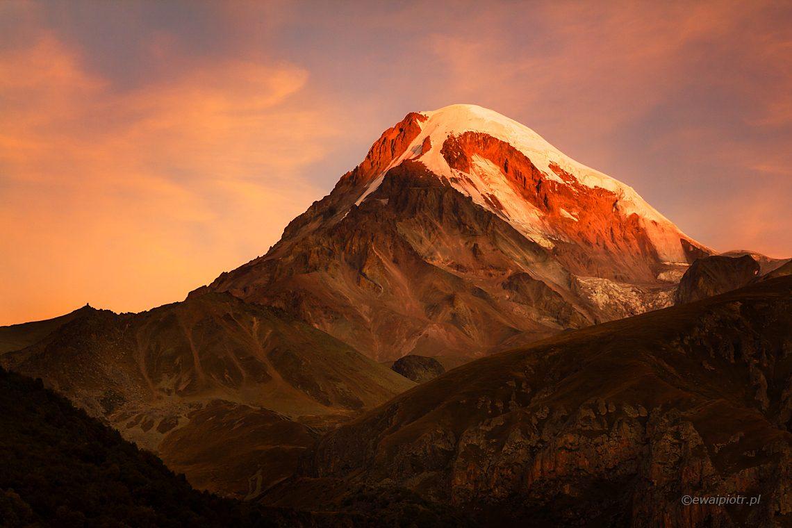 Kazbek o zachodzie słońca, fotowyprawa do Gruzji