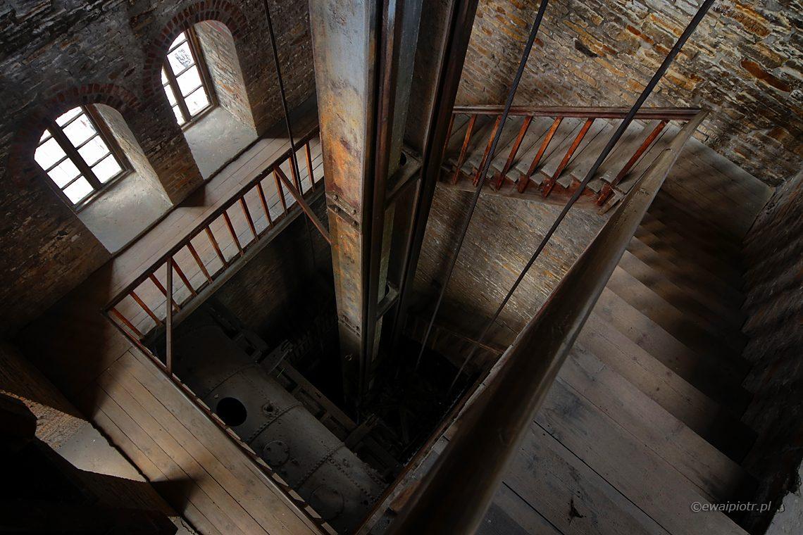 Wieża wyciągowa, Chlebowiec, Czarowne Świętokrzyskie, schody