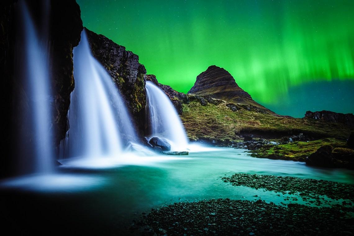 Kirkjufell , zorza polarna, Islandia zima, fot. Andres Nieto Porras