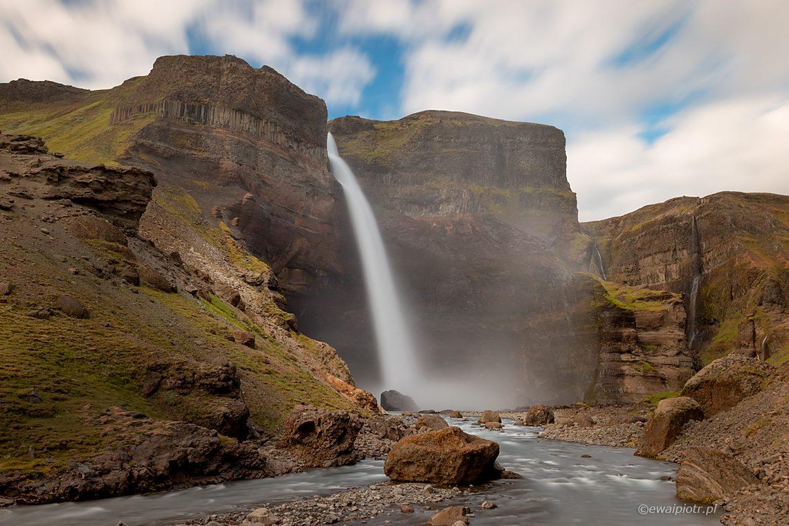 Wodospad Haifoss, jeden z najpiękniejszych wodospadów Islandii