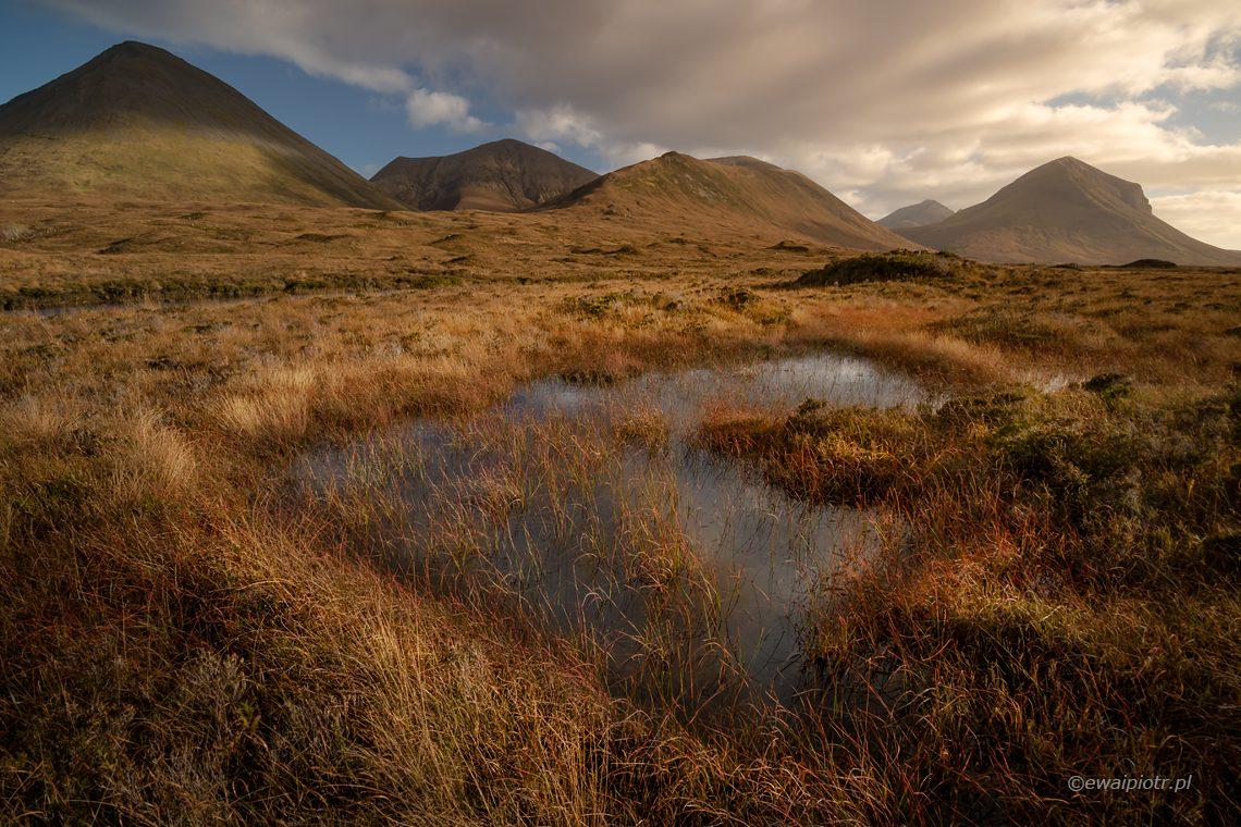 Moczary Sligachan, wyspa Skye, Szkocja