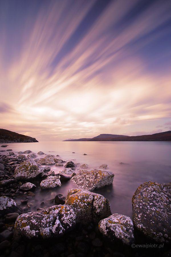 Loch Slapin, Szkocja, chmury, wschód słońca, wyspa Skye, długa ekspozycja, warsztaty fotograficzne