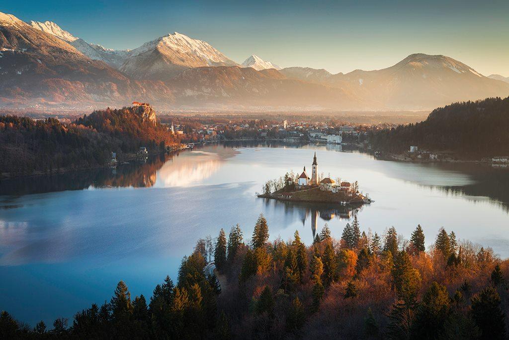 Jezioro Bled, kościół na jeziorze, fotowyprawa do Słowenii