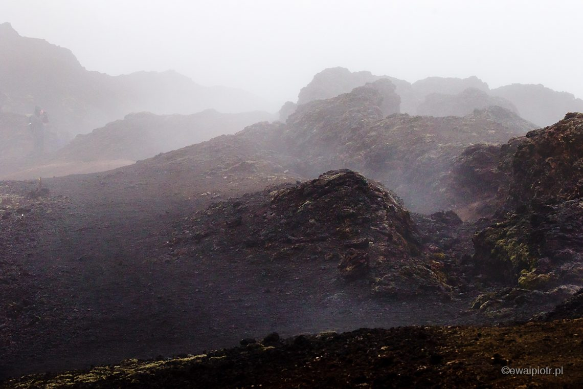 pole lawy, Krafla, Islandia, mgła, wulkan