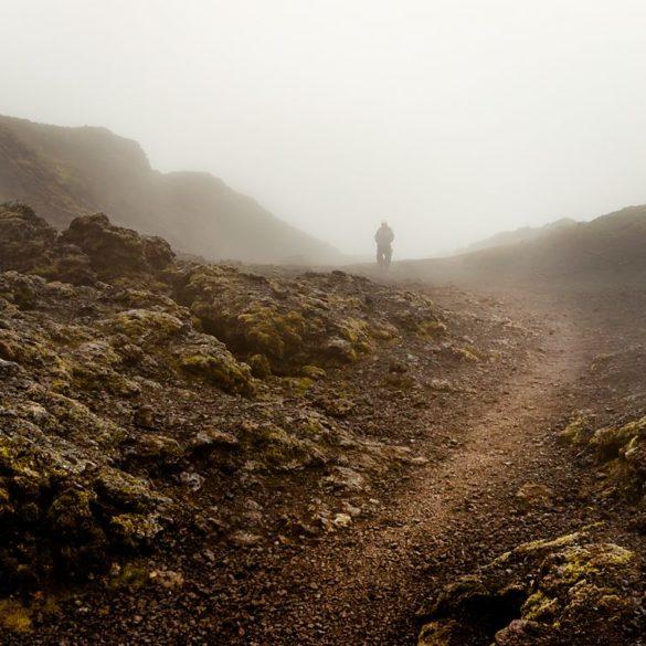 pole lawowe, Krafla, mgła, Islandia, ścieżka, wędrowiec