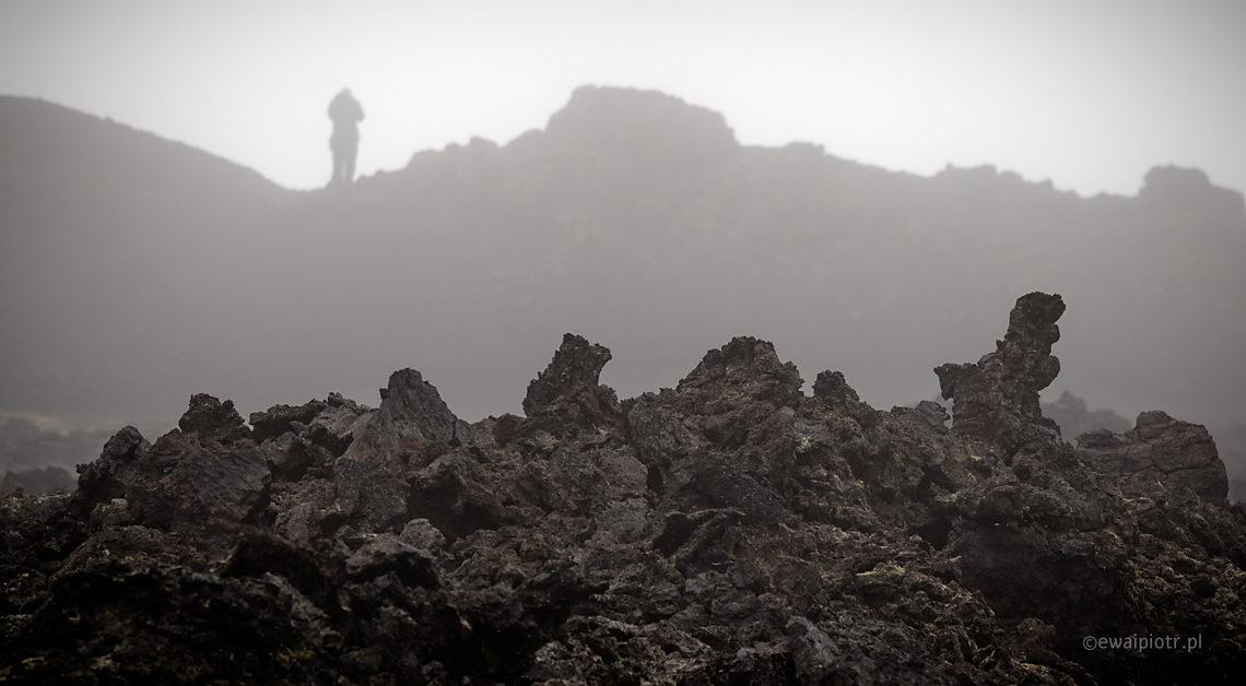 pole lawowe Krafla, Islandia, mgła