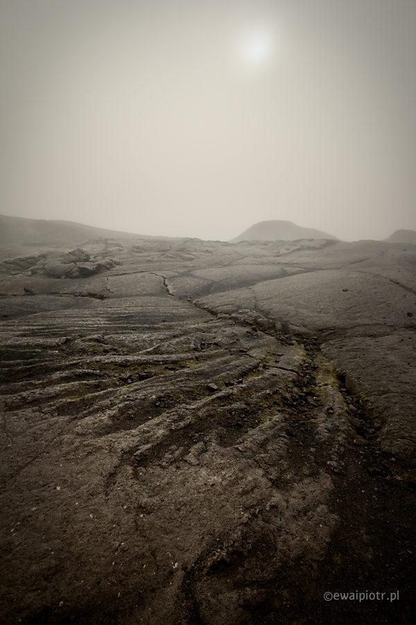 Pole lawy i słońce, Islandia, czarna lawa, fotowyprawa