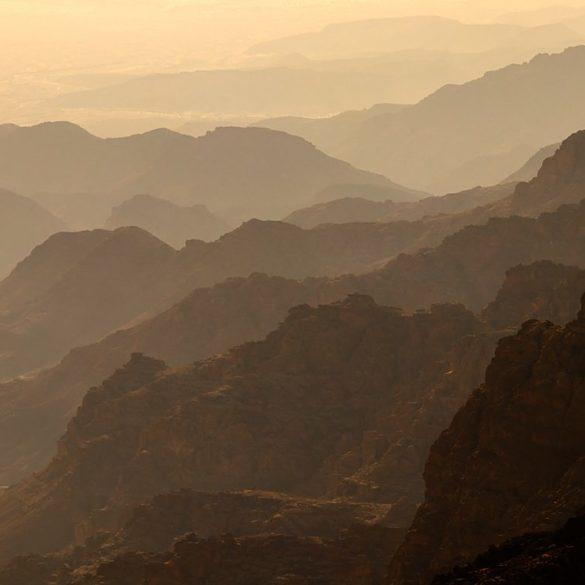 Perspektywa powietrzna doliny Dana, Jordania