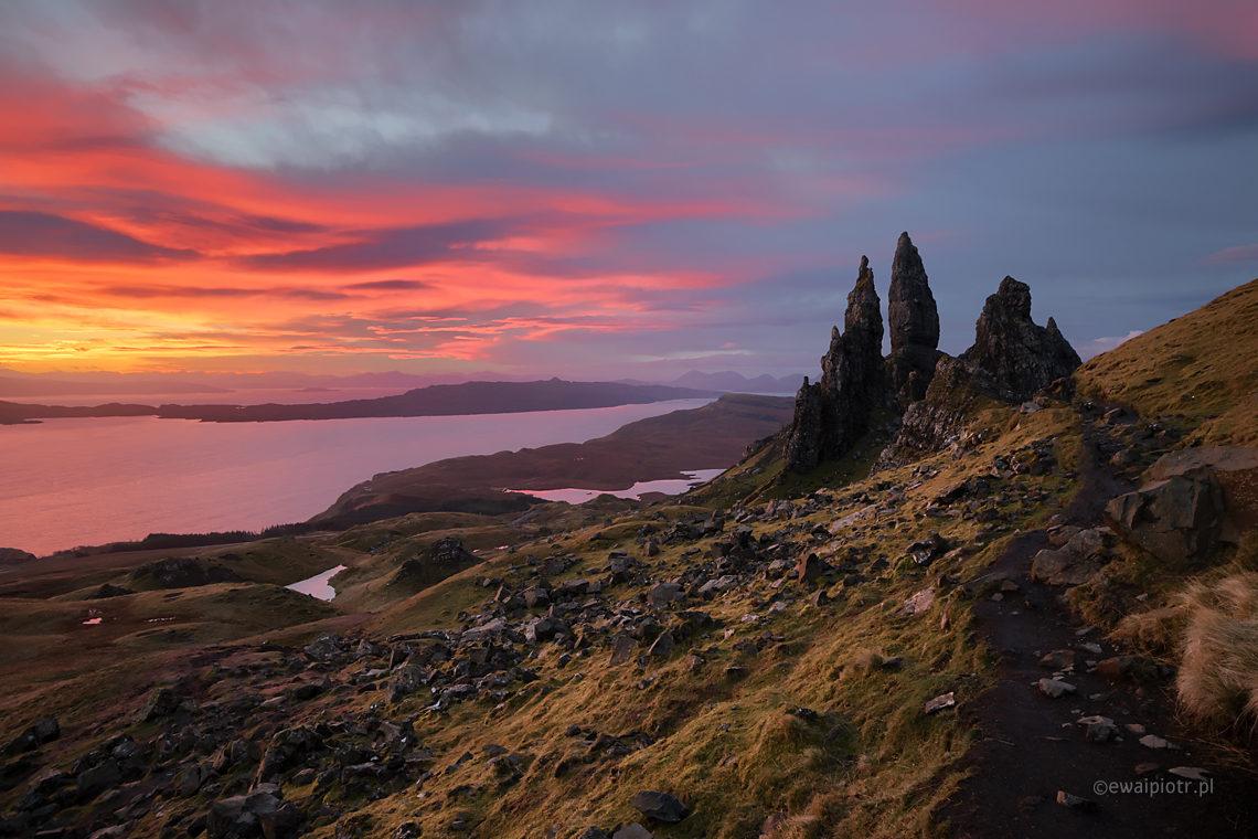 Wschód słońca nad Old Man of Storr, Skye, Szkocja, fotowyprawa