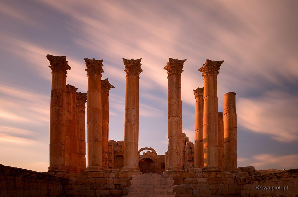 Świątynia Artemidy, Dżerasz, Jordania, długa ekspozycja