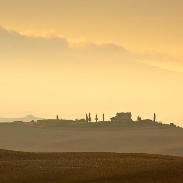 Światło Toskanii, wzgórza, poranek, Toskania