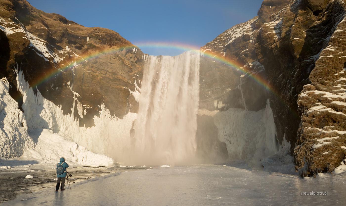 Skogafoss i tęcza, fotowyprawa Islandia
