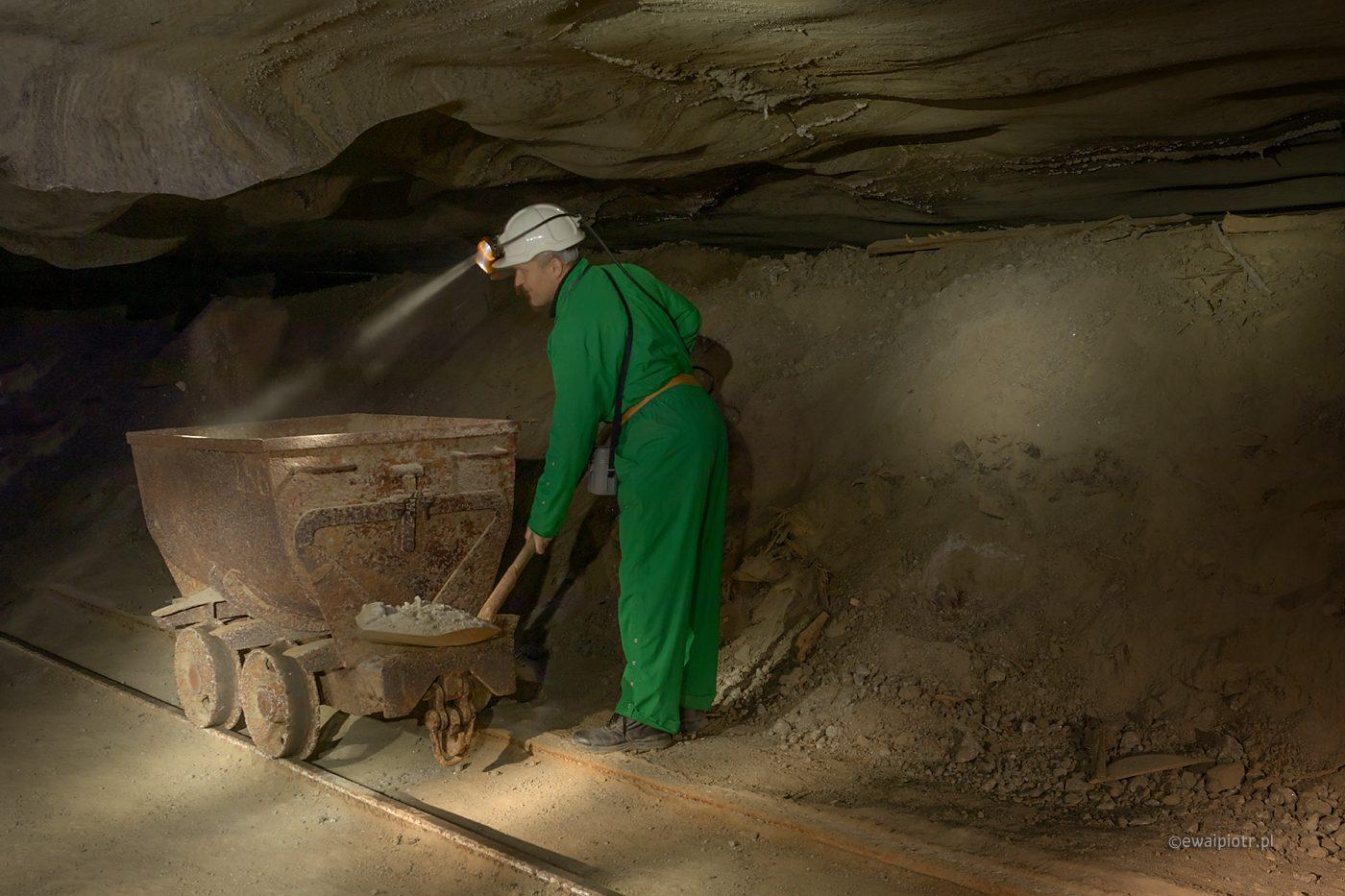 Górnik przy pracy, warsztaty fotograficzne Wieliczka