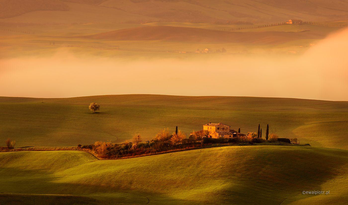 Mgła w dolinie, Toskania, fotowyprawa, Fotezja