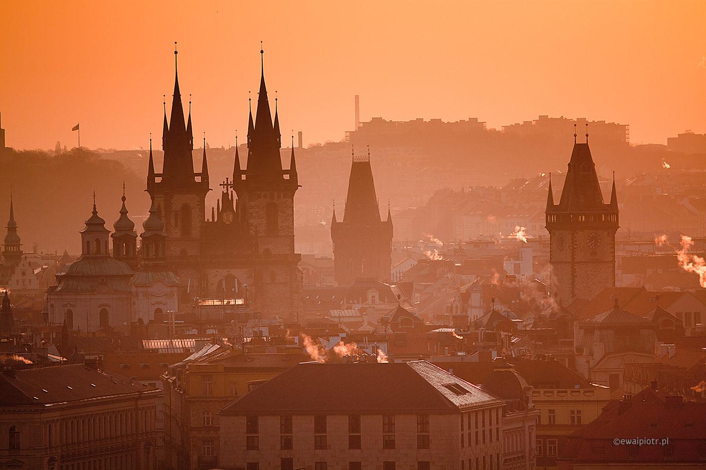 Z wieży o świcie, Praga, warsztaty fotograficzne, wschód słońca
