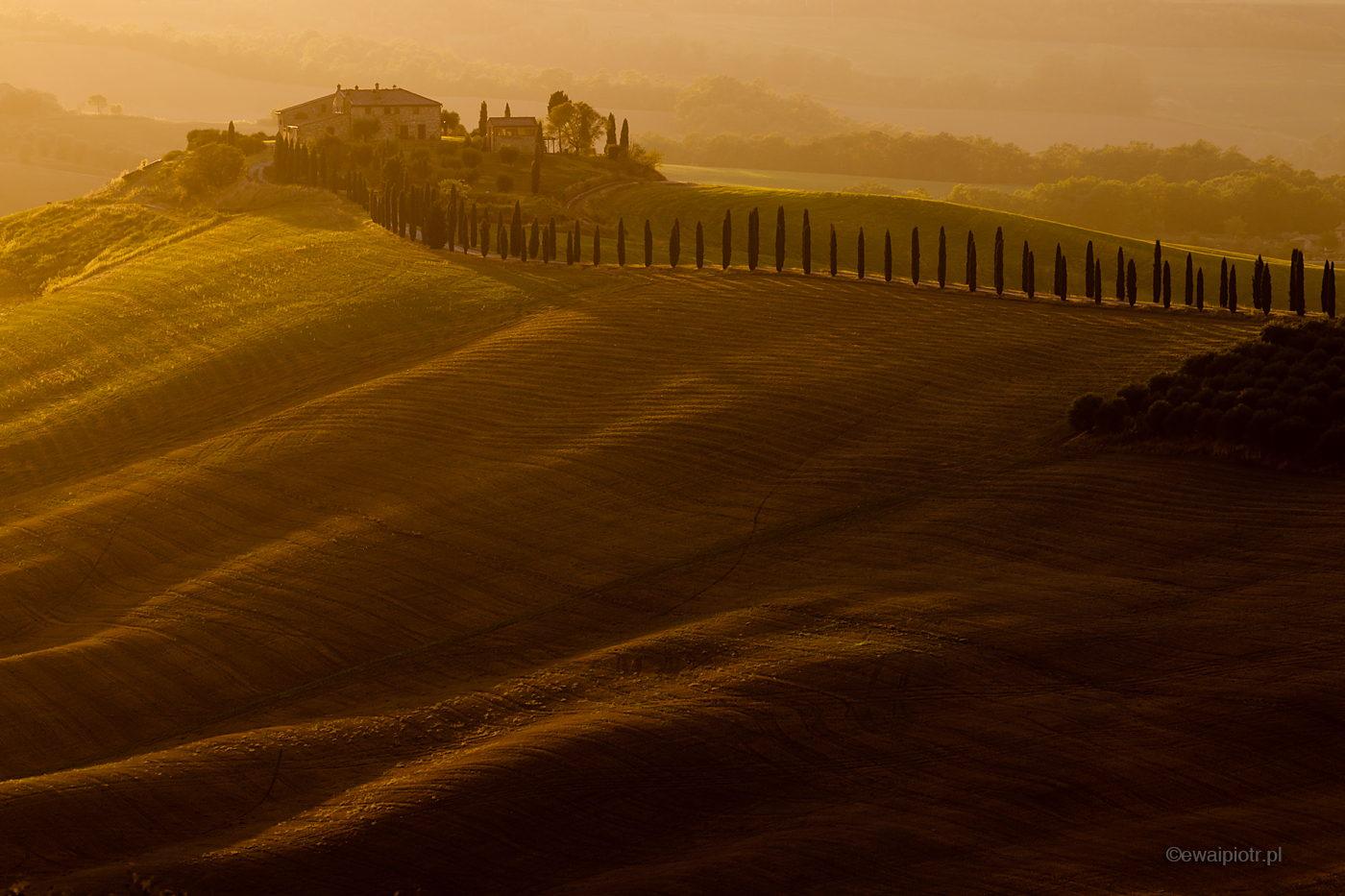 Willa Baccoleno o zachodzie, Toskania