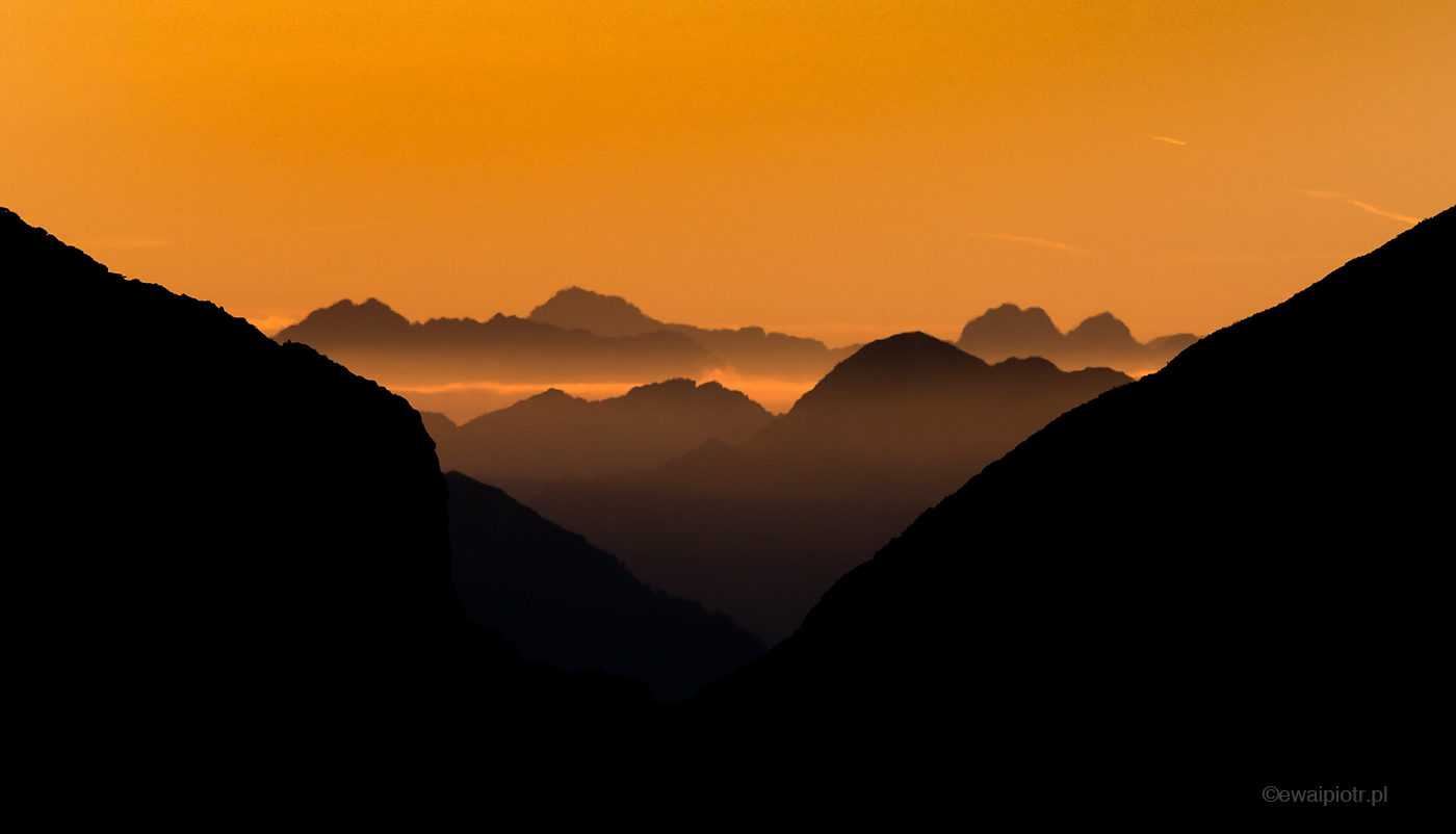 Zachód słońca w Alpach, Słowenia