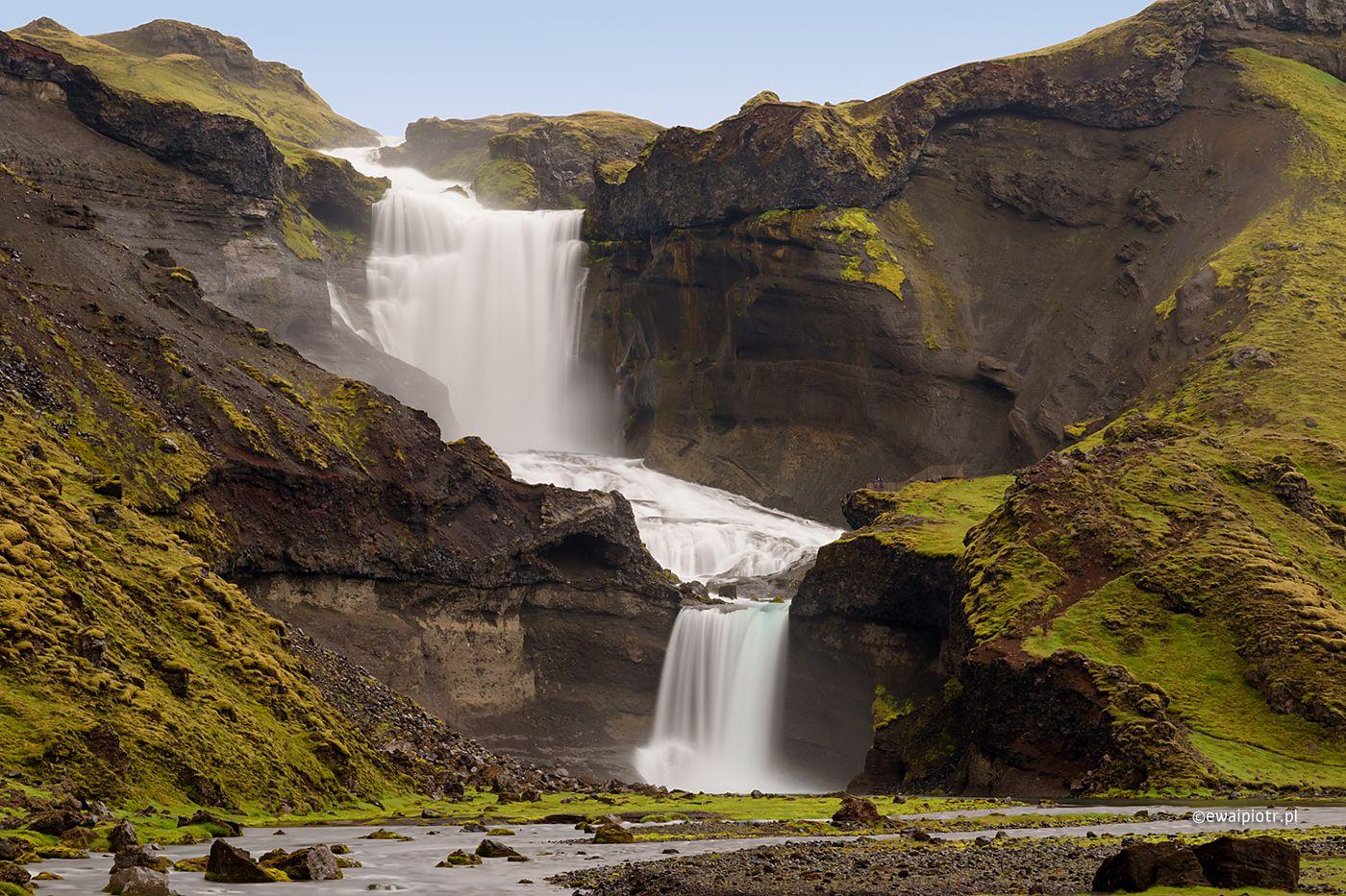 Wodospad Offaerufoss w dolinie Eldgja, Islandia, fotowyprawa