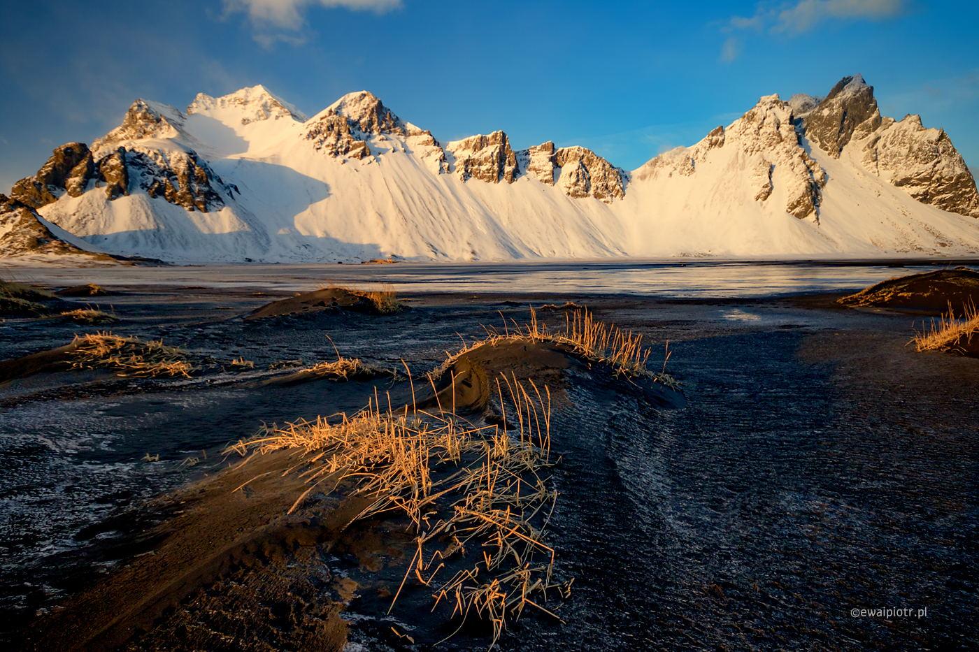 Popołudnie wśród czarnych wydm Vestrahorn, Islandia, fotowyprawa