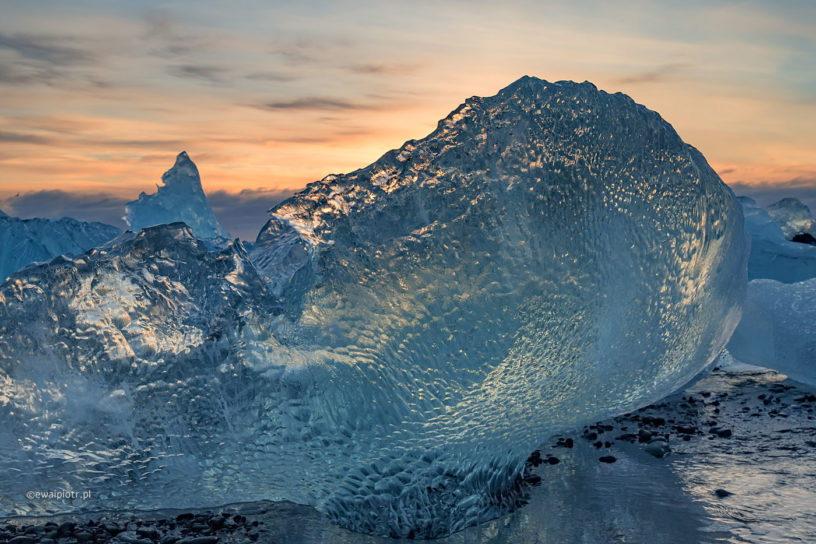 Plaża Jokulsarlon, Islandia, wschód słońca, bryła lodu, warsztaty fotograficzne, Fotezja