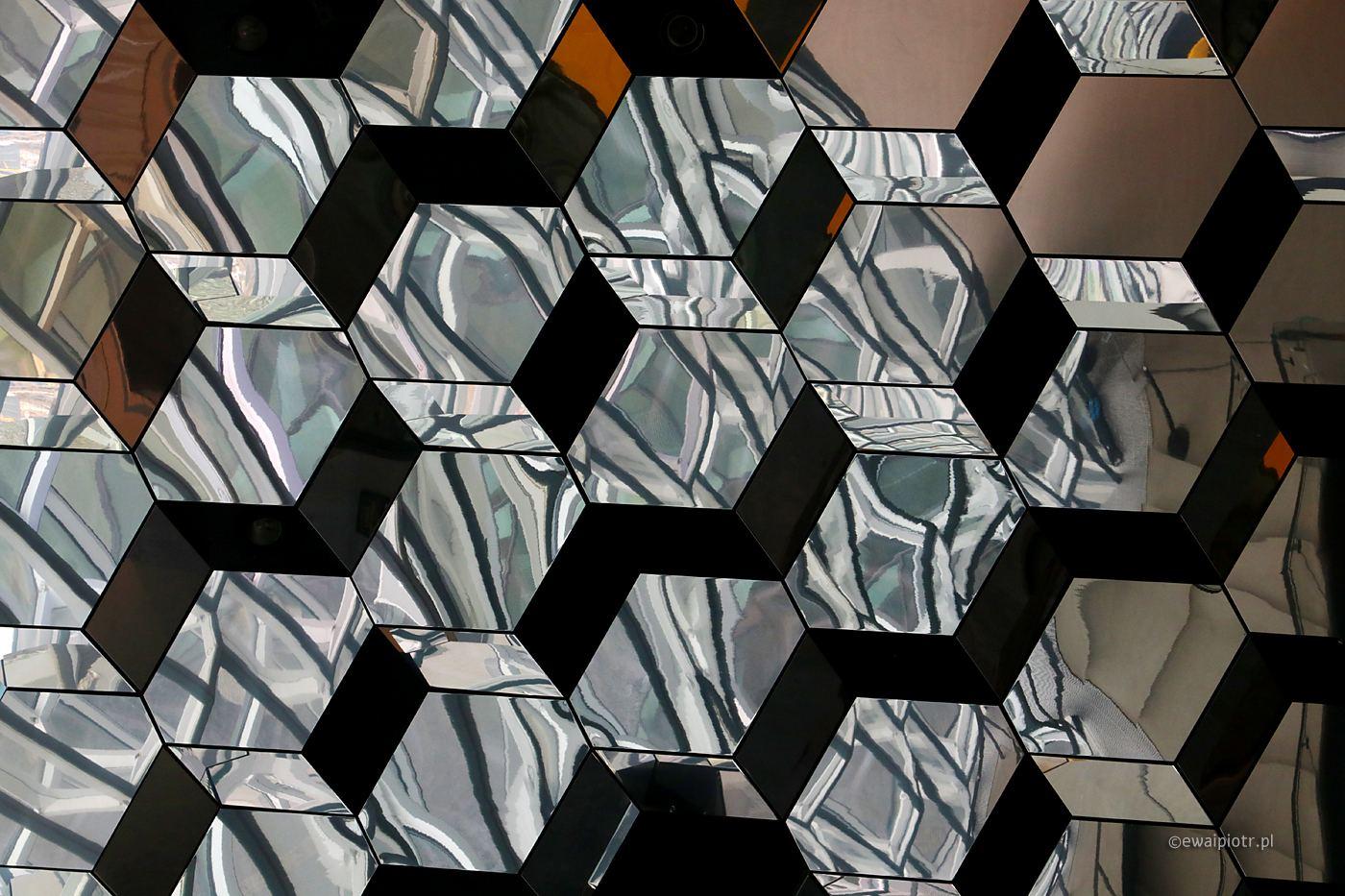 Sala koncertowa w Reykjaviku, Islandia, detal, architektura