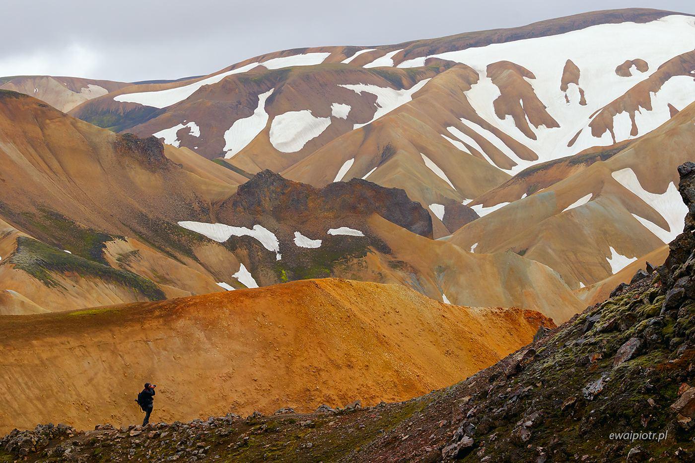 Wędrowiec na wzgórzach Landmannalaugar, Islandia