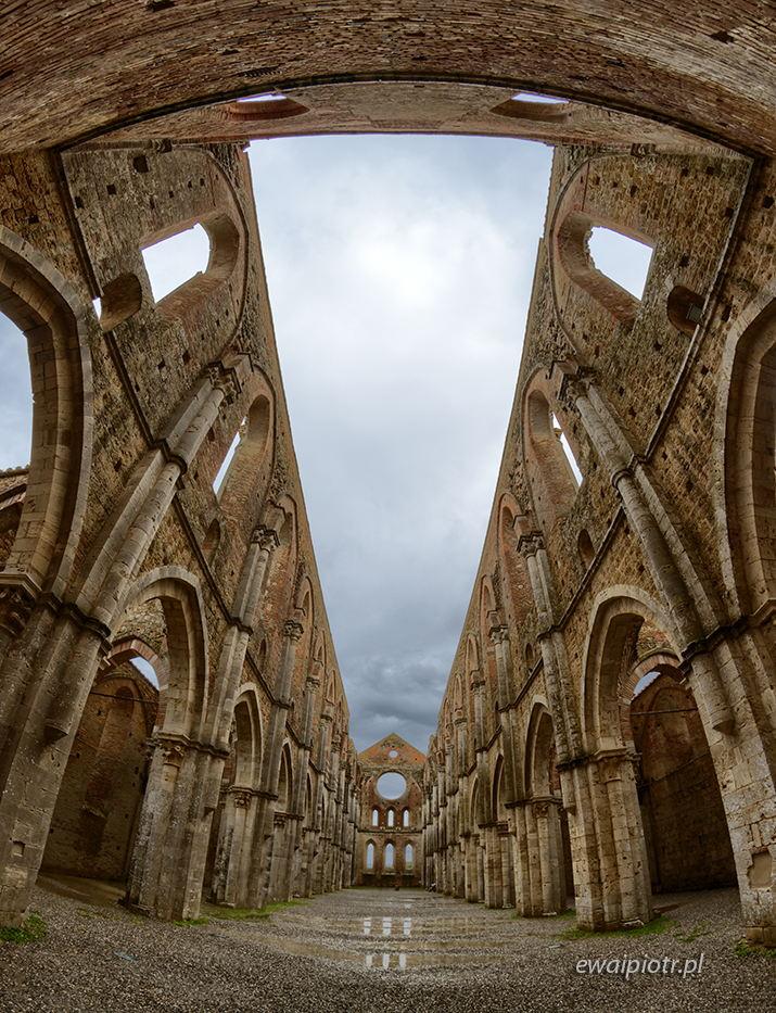 San Galgano, Toskania, rybie oko, ruina, opactwo