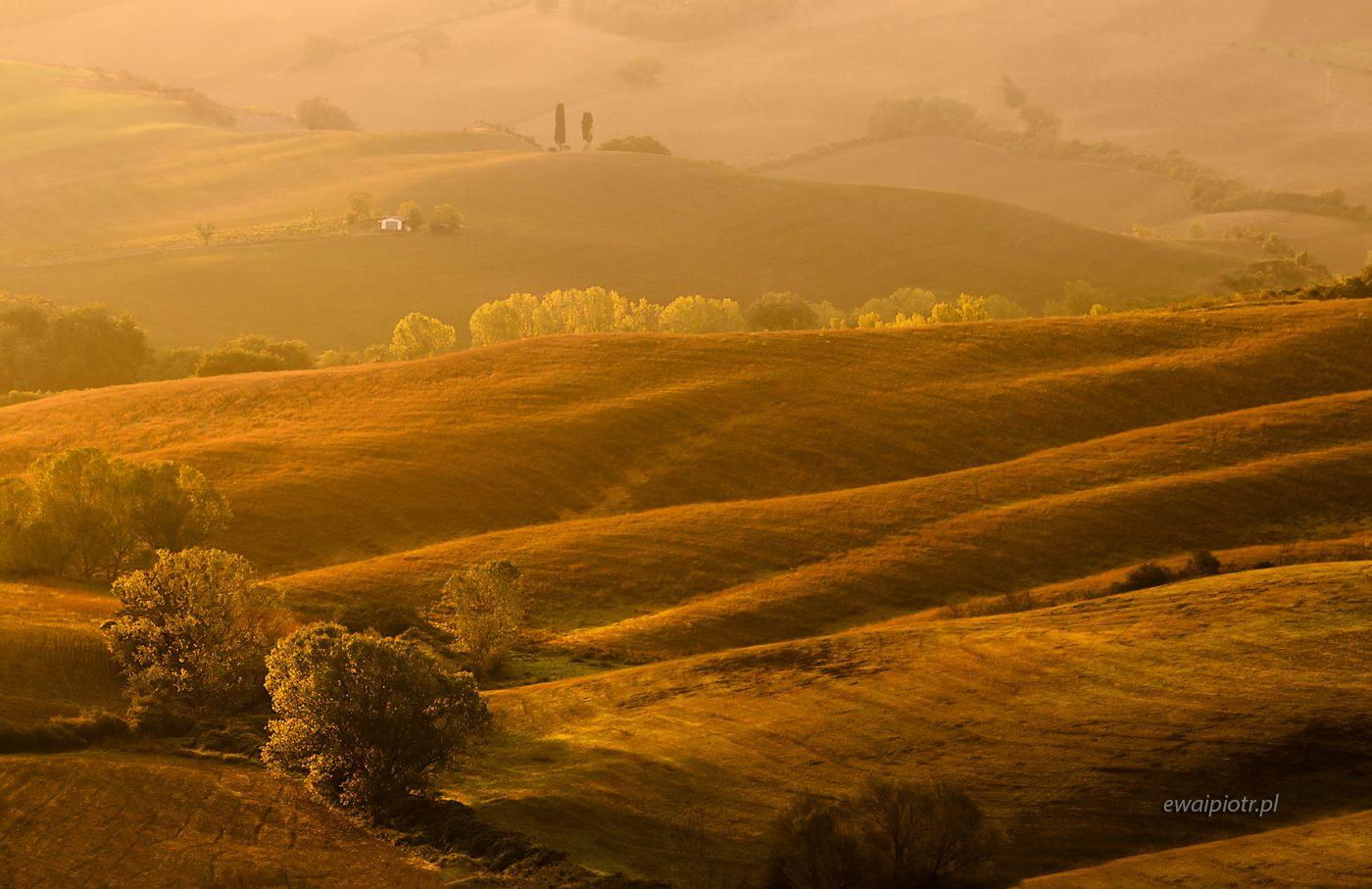 Toskania i wschodzące słońce, fotowyprawa, pod słońce, krajobraz