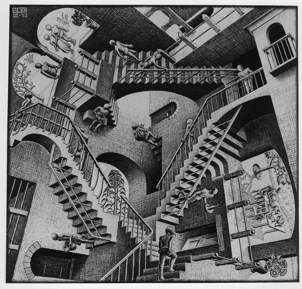 M.C. Escher, Względność (Relativity)