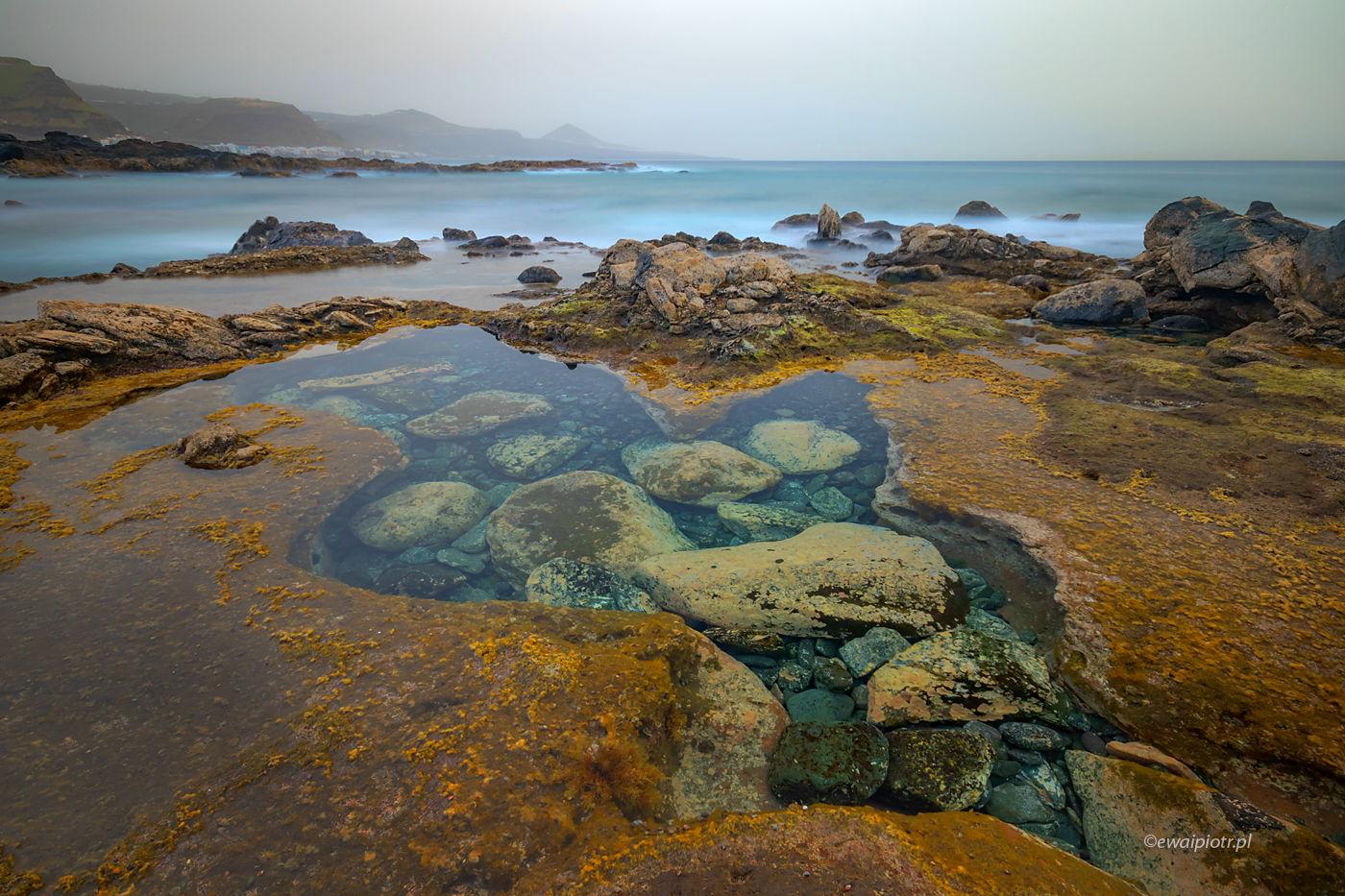 Wybrzeże o zachodzie, Gran Canaria, Wyspy Kanaryjskie