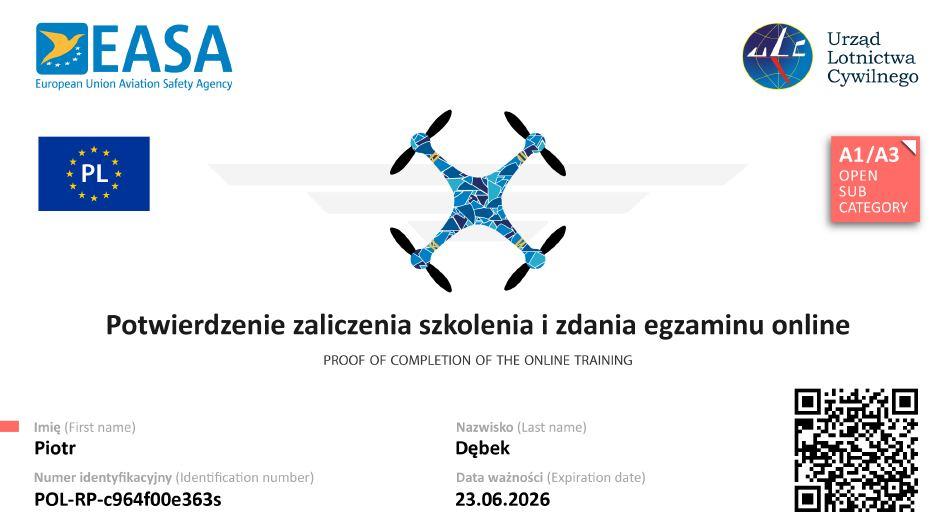 Potwierdzenie zaliczenia egzaminu A1-A3, jak legalnie latać dronem
