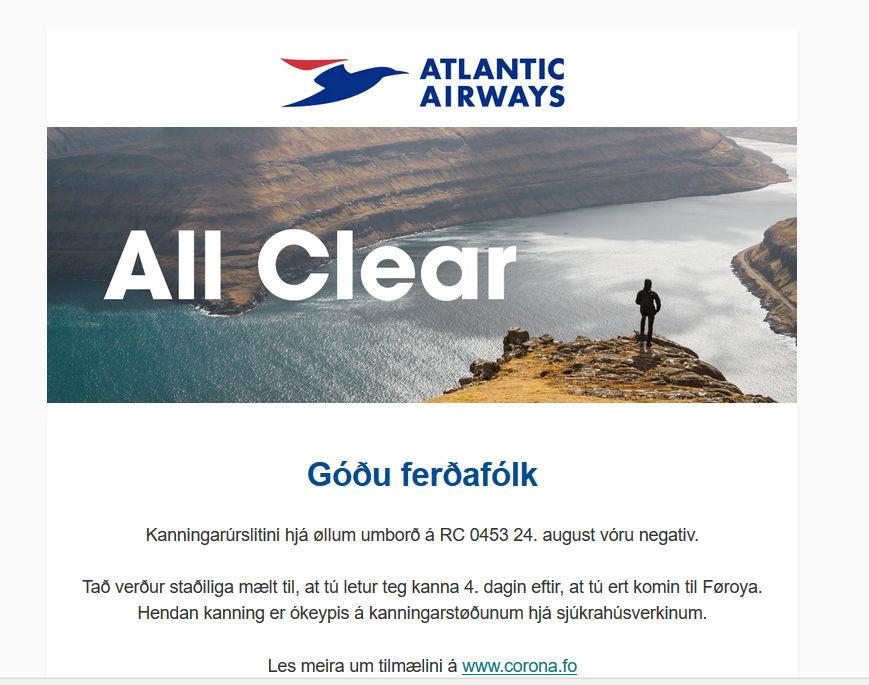 All clear - wynik testu covidowego na Wyspach Owczych