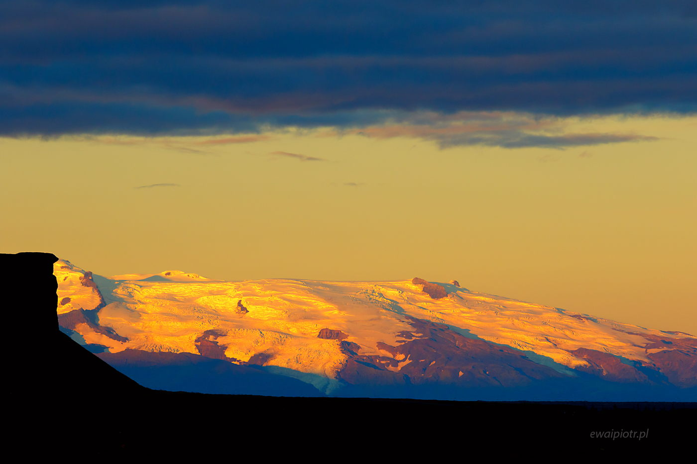 Zachód nad lodowcem, Islandia