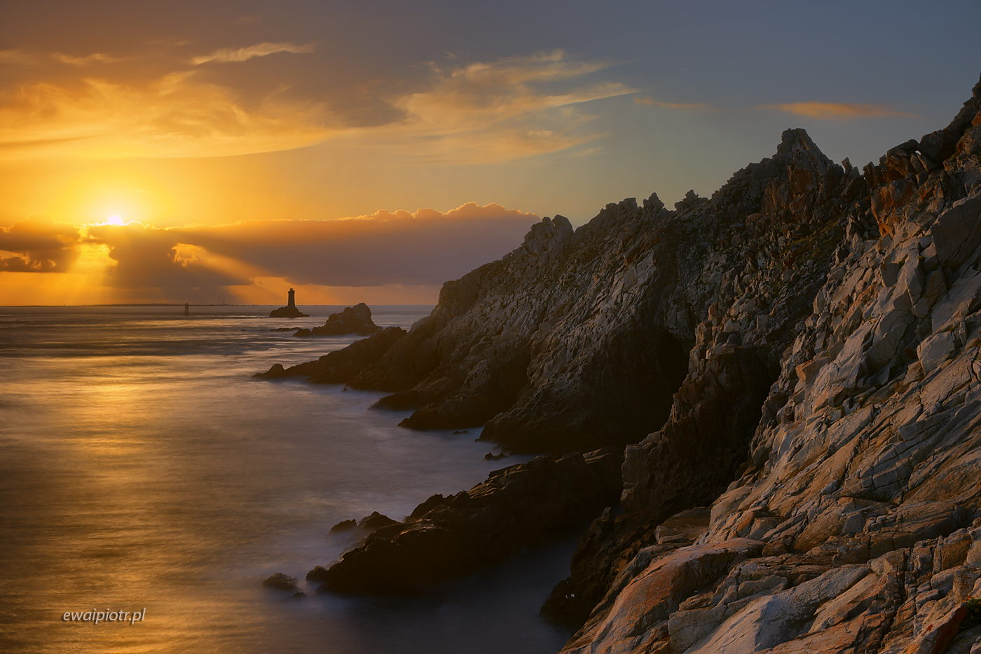 Pointe du Raz o zachodzie, Bretania