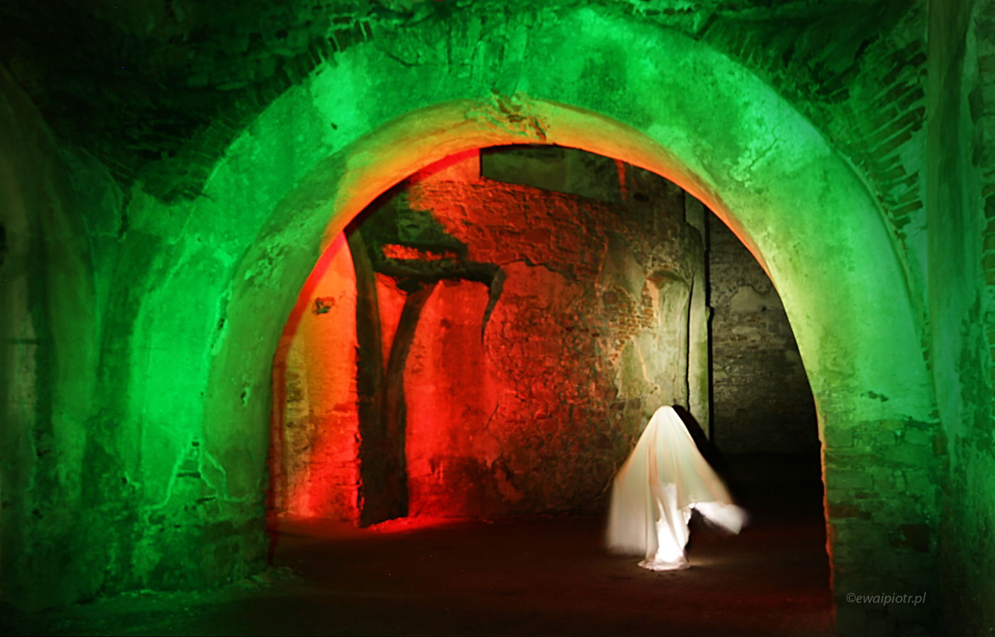 Biała dama w zamku Krzyżtopór, Świętokrzyskie, malowanie światłem